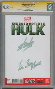 Indestructible Hulk #1 Blank Variant CGC 9.8 Signature Series Signed Stan Lee Lou Ferrigno Hulk TV Actor Marvel